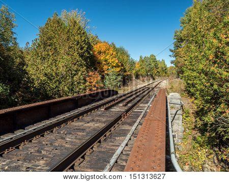 Railway Bridge Over Fleetwood Creek In Ontario Rail Tracks