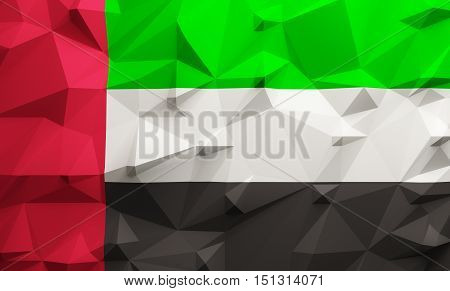 Low poly illustrated United Arab Emirates flag. 3d rendering.