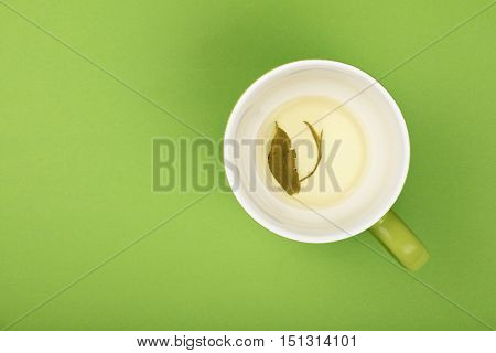 One Empty Big Cup Of Green Oolong Tea, Saucer