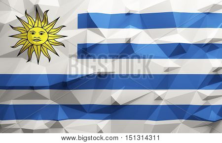 Low poly illustrated Uruguay flag. 3d rendering.
