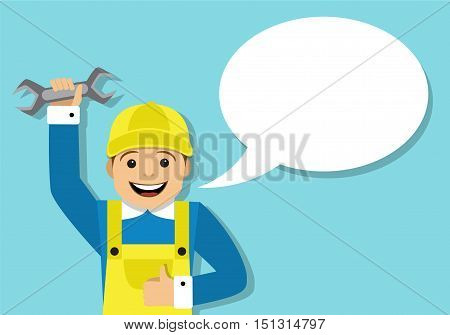 Master in overalls holding a wrench and says