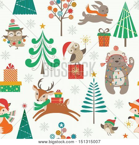 Cute Christmas pattern with woodland animals Christmas trees and gifts.