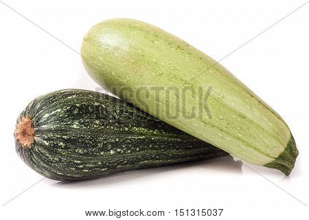 zucchini and squash isolated on white background.