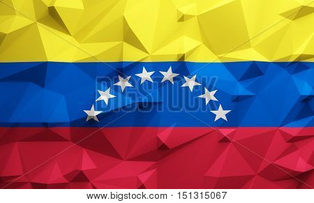 Low poly illustrated Venezuela flag. 3d rendering.