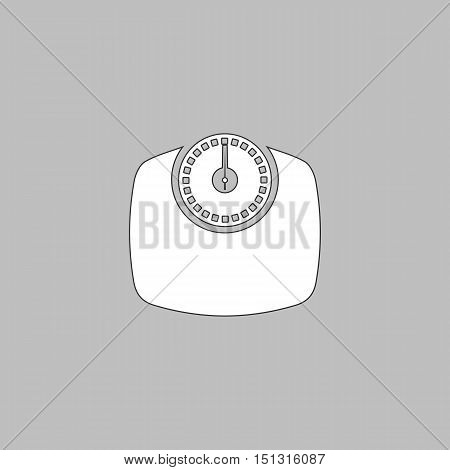 Bathroom scale Simple line vector button. Thin line illustration icon. White outline symbol on grey background