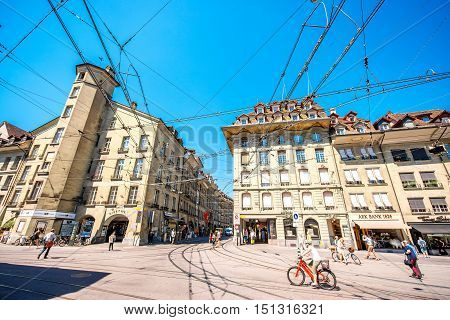 Bern, Switzerland - June 24, 2016: Street view with people in the old town of Bern city in Switzerland. Life in Bern city.