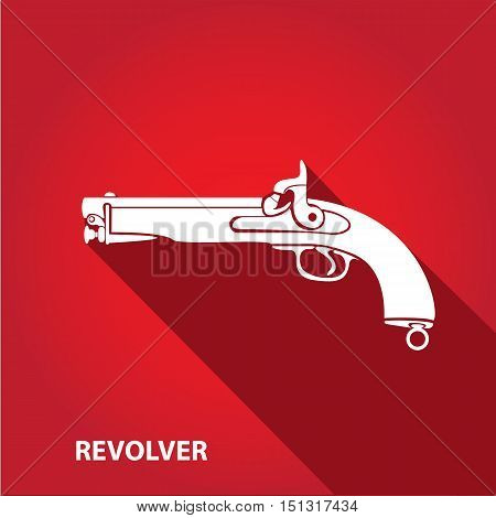 vector vintage pistol gun on red background