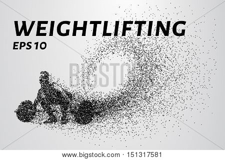 Weightlifter of the particles. Weightlifter preparing to lift weights.