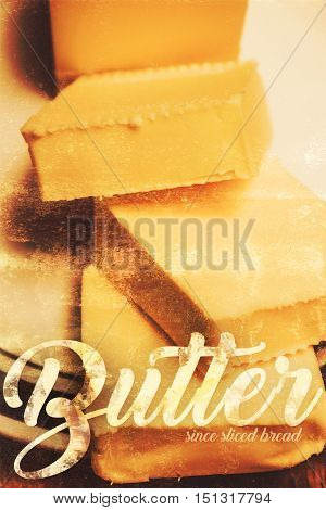 Classic old rusty food products advertisement with butter dairy tin sign design. Old adverts