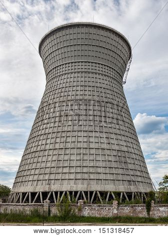 Cooling tower of the cogeneration plant in Kyiv Ukraine.
