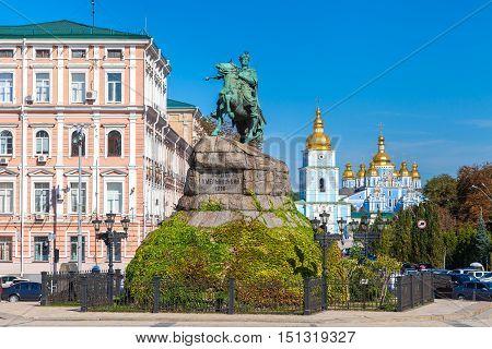 Monument to Bogdan Khmelnitsky on Sophia Square and St. Sophia Cathedral Kiev Ukraine.
