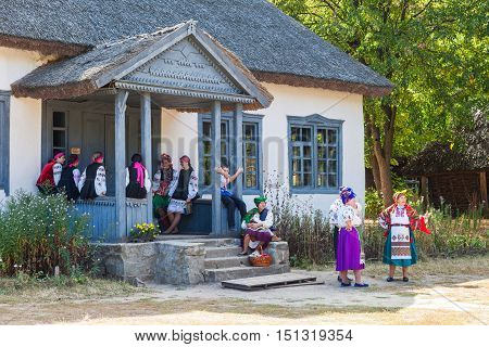 Kiev, Ukraine - September 18, 2016: Ukrainian Girls And Women In Museum Of Ukrainian Folk Architectu