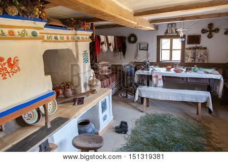 Kiev, Ukraine - September 18, 2016: Interior Of Retro Ukrainian Home In Museum Of Ukrainian Folk Arc