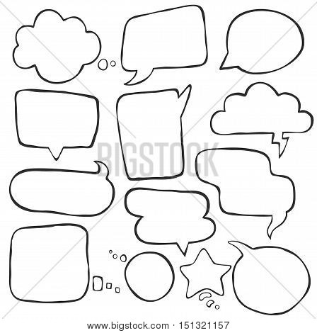 Set of different speak bubbles, speak clouds. Flat graphic element vector shapes