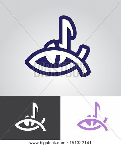 christian fish symbol with musical note as christian music emblem abstract vector illustration