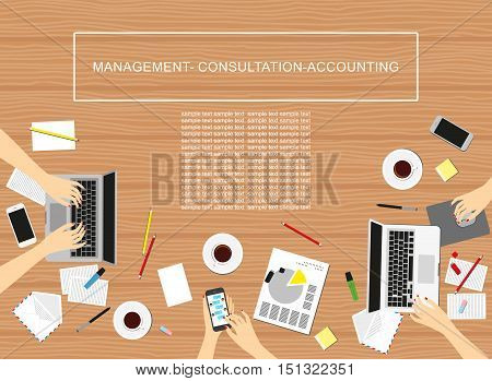Concepts For Business, Marketing, Management, Accounting. Women in the workplace. Top view of female hands, desk, laptop screen.