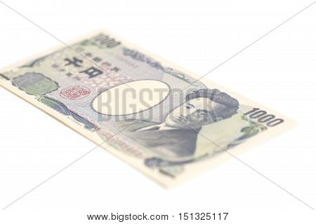 Banknote of the Japanese 1000 Yen isolated on white