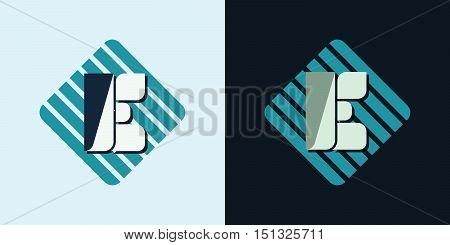 letter E company identification logo bright and dark bg vector illustration