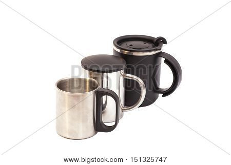 Thermos Travel Mugs isolated on white background