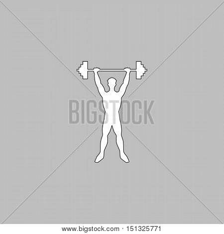 Strongman Simple line vector button. Thin line illustration icon. White outline symbol on grey background