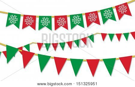 Christmas vector decoration set. Red and green flags and garlands on white background. Merry christmas set of garlands and buntings