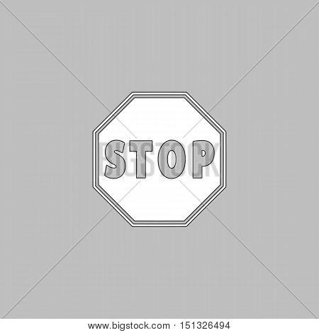 Vector Stop Sign Icon Simple line vector button. Thin line illustration icon. White outline symbol on grey background