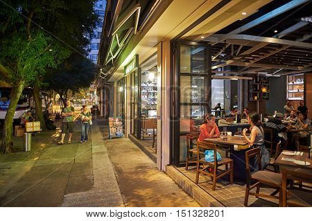 HONG KONG - OCTOBER 25, 2015: Kinsale restaurant at night. Kinsale is a restaurant located in Hong Kong's Kennedy Town.