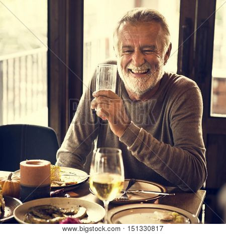 Grandparent Men Smiling Celebration Thanksgiving Holiday Concept