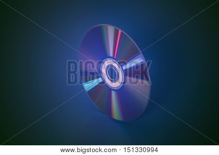 Compact disk cd on a blue background