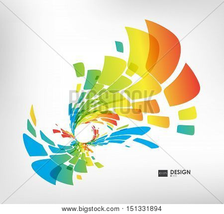 Abstract colorful geometric composition with circles on white background