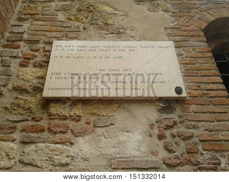 Verse By Shakespeare At House Of Juliet In Verona