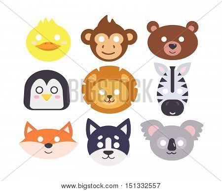 Animals carnival mask vector set festival decoration masquerade. Party costume cute cartoon animals carnival mask. Festival head decoration isolated celebration animals carnival mask.