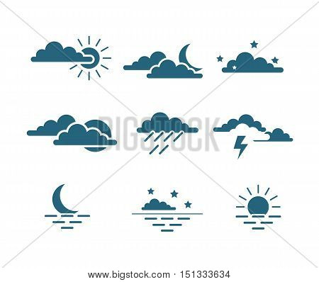 sun, clouds, lightning, moon, stars and sea sunset weather icon set isolated vector illustration