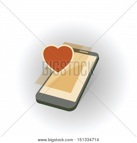 mobile gadget with heart love symbol abstract vector illustration