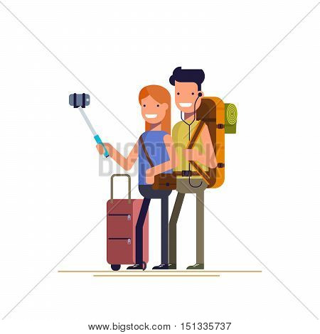 Happy couple doing selfie photo while on vacation. Vector illustration in a flat style isolated on white background