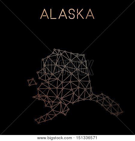 Alaska Network Map. Abstract Polygonal Us State Map Design. Network Connections Vector Illustration.