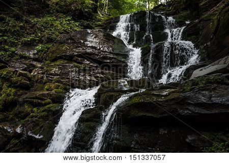 Shepit waterfall in west Ukraine. Carpathian mountains, summer time.