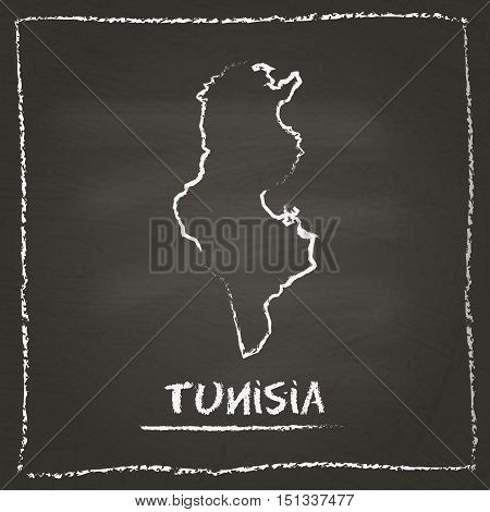 Tunisia Outline Vector Map Hand Drawn With Chalk On A Blackboard. Chalkboard Scribble In Childish St