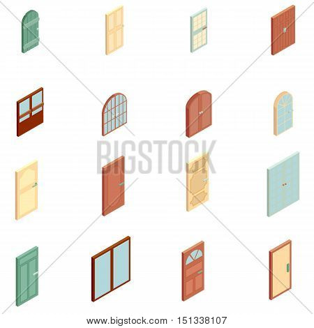 Doors icons set. Isometric illustration of 16 doors vector icons for web