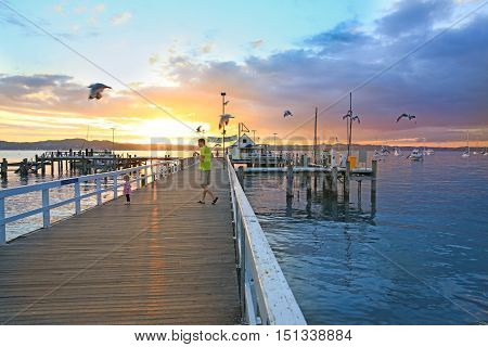 Russel, New Zealand - January 6, 2015: Sunrise At The Bay Of Islands, North Island, New Zealand.