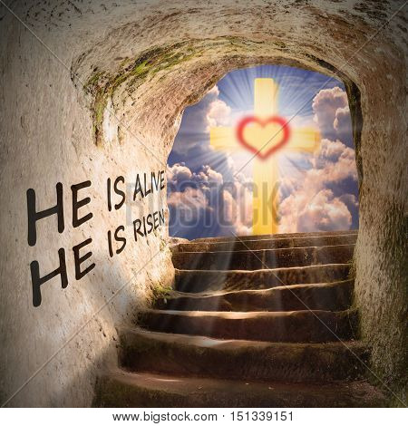 Way to heaven. Biblical story, metaphor from New Testament. He is risen. He is alive. Digital artwork on religion theme.