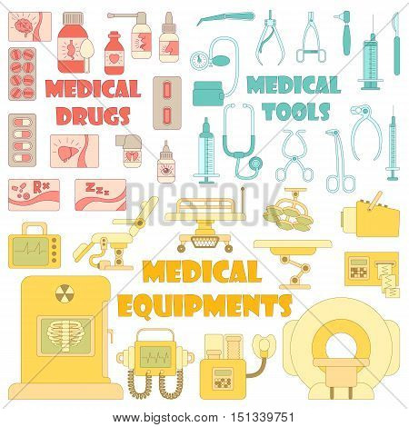 Medical tools equipment grugs icons set. Cartoon illustration of 37 medical tools equipment grugs vector icons for web