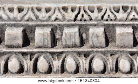 Detail of an ancient temple frieze in Roman Forum