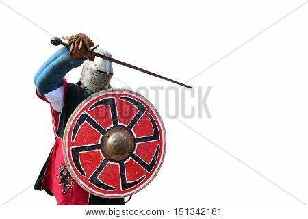 medieval metal armor and helmet knight isolated over white