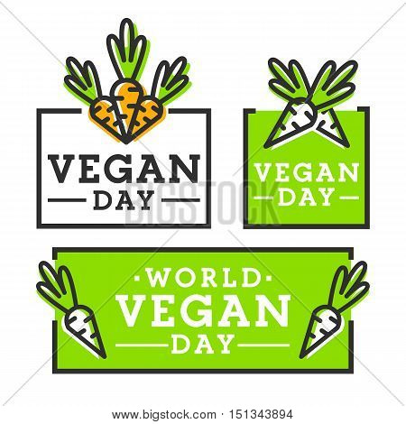World Vegan Day. Happy Vegan Day. Set logo, emblem, label.