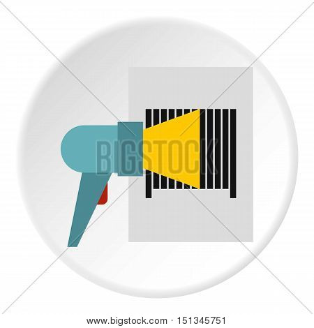 Bar code on cargo icon. Flat illustration of bar code on cargo vector icon for web