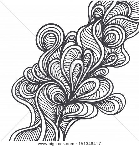 Doodle elements in handmade style or abstract doodle background black on white for coloring page or relax coloring book or for wallpaper or for package or for decoration clothes or different thing