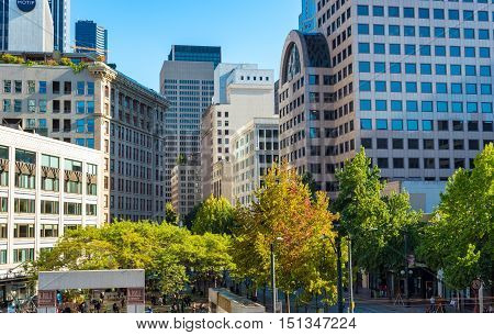 SEATTLE WA - SEPTEMBER 11 2016: Westlake Park in the heart of downtown is a popular gathering place and has been unofficially called