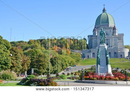 MONTREAL CANADA OCTOBER 04 2016: Saint Joseph's Oratory of Mount Royal is a Roman Catholic basilica on the west slope of Mount Royal in Montreal, Quebec, Canada.