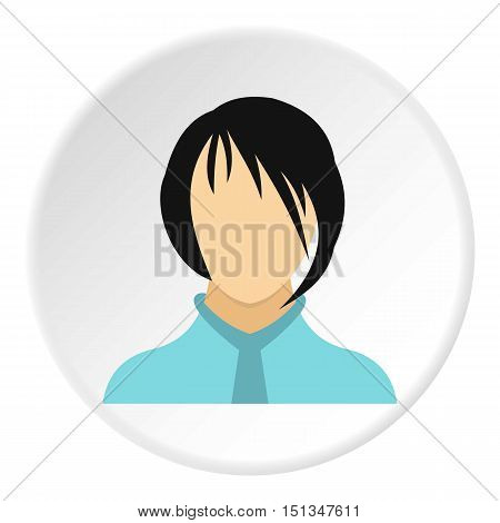 Woman with bangs avatar icon. Flat illustration of woman with bangs avatar vector icon for web
